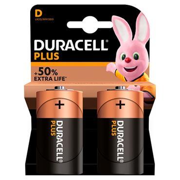 DURACELL D Size Batteries, 2 Pack