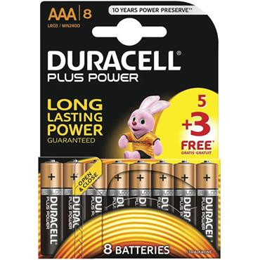 DURACELL AAA Size Batteries, 8 Pack