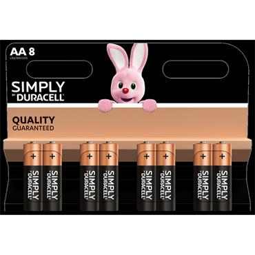 DURACELL AA Size Batteries, 8 Pack