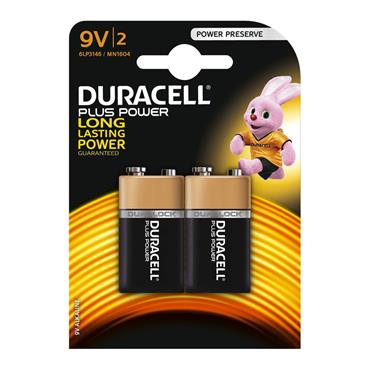 DURACELL 9v Size Batteries, 2 Pack