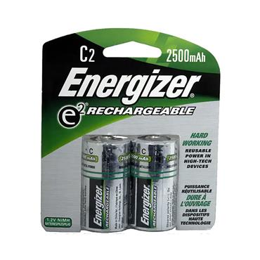 ENERGIZER NiMH C Rechargeable Batteries, 2 Pack