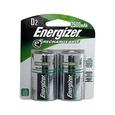 ENERGIZER NiMH D Rechargeable Batteries, 2 Pack