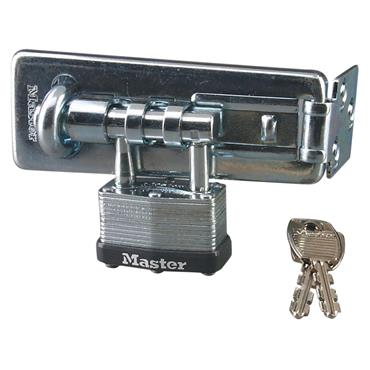Masterlock 450D Long Hardened Steel Hasp with Steel Padlock