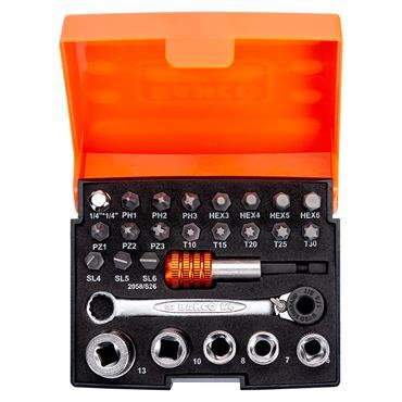 "Bahco 2058/S26 26 Piece 1/4"" Drive Ratcheting Bit Socket Set"