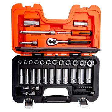 """Bahco S330L 53 Piece Metric 1/4"""" and 3/8"""" Drive Socket Set"""