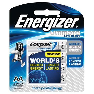 ENERGIZER L91BP-4 Lithium AA  Batteries, Pack of 4