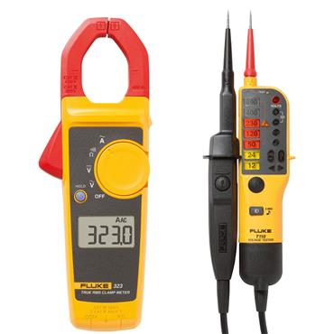 Fluke 323 Clamp Meter & T110 Voltage & Continuity Tester Electrician Kit