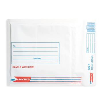 GoSecure KF71450 Bubble Lined Envelope Size 5 220x265mm White, Pack of 100