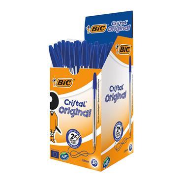 Bic BC10001 Cristal Ballpoint Pen Medium Blue, Pack of 50