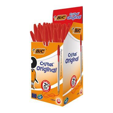 Bic BC10003 Cristal Ballpoint Pen Medium Red, Pack of 50