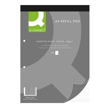 Q-Connect KF02229 160 Pages A4 Narrow Feint Ruled Headbound Refill Pad , Pack of 10
