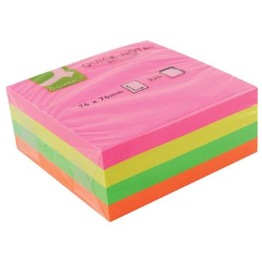 Q-Connect KF01348 76 x 76mm Assorted Neon Quick Note Cube