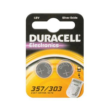 Duracell 357 Silver Oxide 1.5 Volt Coin Battery, Pack of 2
