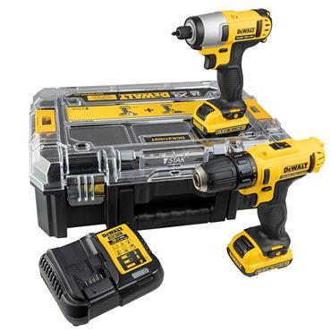 DeWALT DCK211D2T 10.8 Volt XR Drill Driver and Impact Driver Twin Kit, 2 x 2.0Ah Batteries