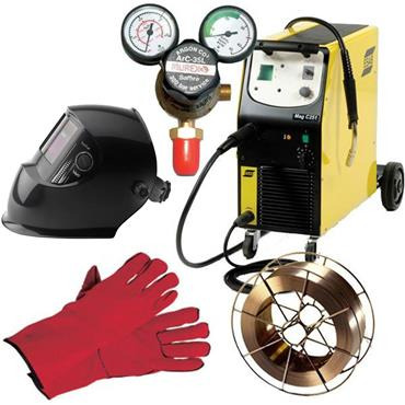 ESAB C251 Origo Mag MIG/MAG Welding Package with Mig Wire, Gloves, Automatic Helmet & Regulator