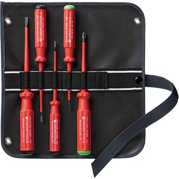 PB SWISS TOOLS 5543SUSLGY Classic VDE Slim Screwdriver Set in a 2 in 1  fabric roll up case