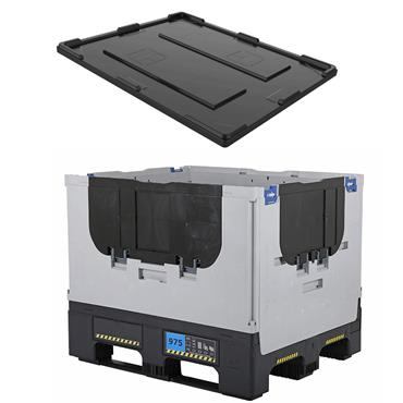 Schoeller Allibert Heavy Duty Collapsible Pallet Box with Lid, 1200 x 1000 x 975mm