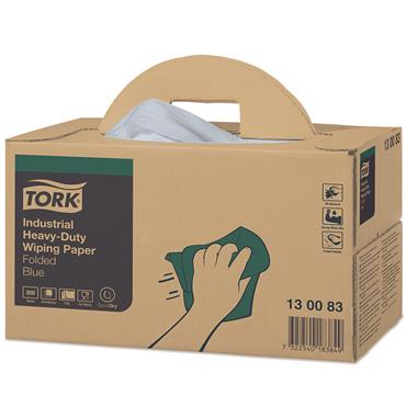 Tork 130083 Blue Industrial Heavy-Duty Wiping Paper Box of 200