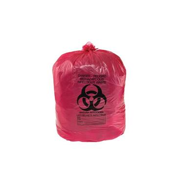 JUSTRITE 05901 15 Gallon Red Biohazard Bags, Pack Of 100