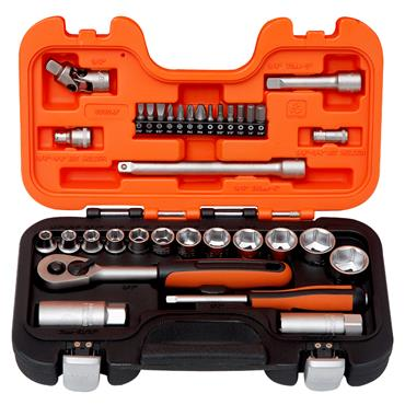 """Bahco S330AF 34 Piece Metric 1/4"""" and 3/8"""" Drive Socket Set"""
