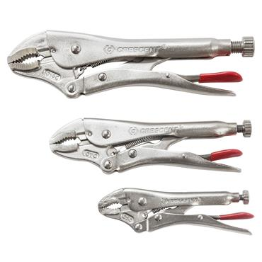 Crescent CLP3SETN 3 Piece Curved Jaw Locking Pliers with Wire Cutter