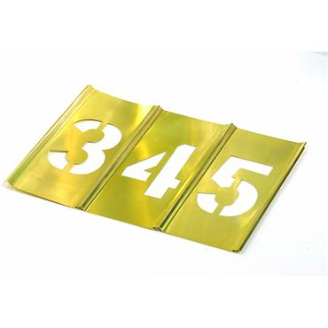 CH Hanson 10014 15 Piece Interlocking Brass Single Number Stencil Set