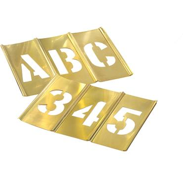 CH Hanson 45 Piece Interlocking Brass Single Letter and Number Stencil Set