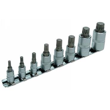 "Laser 3266 8 PIece Spline Socket Bit Set 1/4""D, 3/8""D, & 1/2""D"