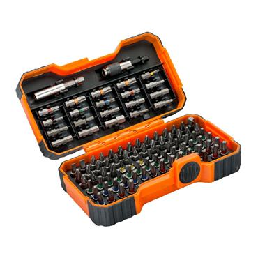 """BAHCO 59/S100B 1/4"""" Bit Set for Slotted/Phillips/Pozidriv/Hex/TORX® Tamper Screw,  100 Piece"""