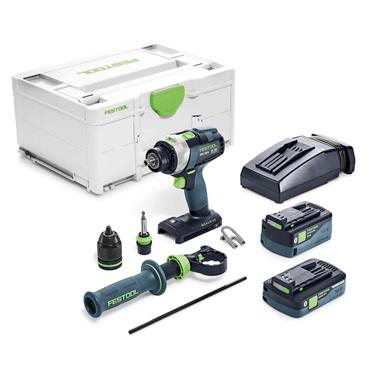 Festool 576773 18/4 Cordless 18 Volt Percussion Drill, 1 x 5.2Ah and 1 x4.0Ah Batteries