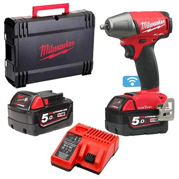 "Milwaukee M18 ONEIWF38-502X 18 Volt 3/8"" Impact Wrench, 2 x 5.0Ah Batteries"