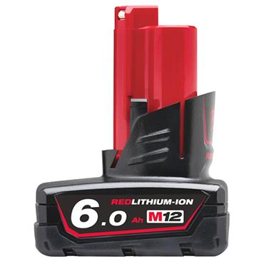 Milwaukee M12B6 12 Volt Red Lithium-Ion Battery Pack, 1 x 6.0Ah Batteries