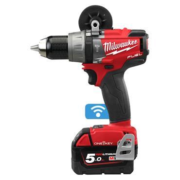 Milwaukee M18ONEPD-502X 18 Volt One Key Fuel Percussion Drill, 2 x 5.0Ah Batteries