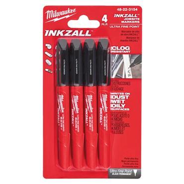 Milwaukee 48223154 4 Piece Ultra Fine Point Inkzall Jobsite Marker Set