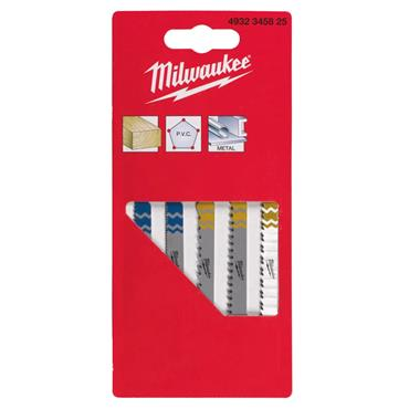 Milwaukee 4932345825 5 Piece T-Shank Jigsaw Blade Set