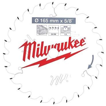 MILWAUKEE 4932471311  Circular Saw Blade 165mm x 15.87mm x 24T