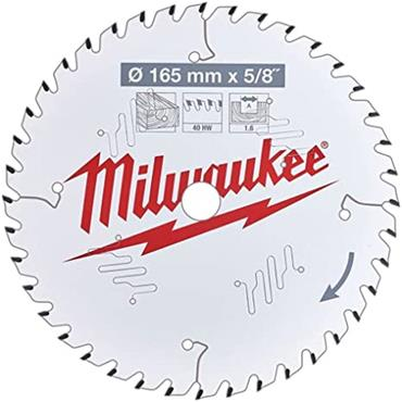 MILWAUKEE 4932471312 Circular Saw Blade with Anti-Friction Coating, 165mm x 15.87mm x 40T