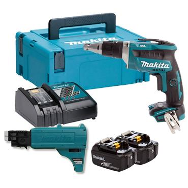 Makita DFS452FJX2 18V Brushless Drywall Screwdriver with Autofeed Attachment 2 x 3.0Ah Batteries