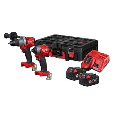 Milwaukee M18FPP2L2-502P 18v Combi and Impact Driver 2 x 5Ah Batteries
