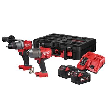 Milwaukee M18FPP212-502P 18V Powerpack Twin Pack 2 x 5.0Ah Li-ion Batteries