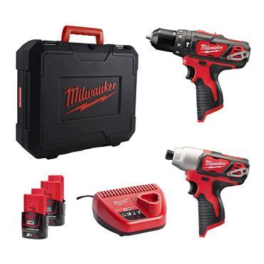 Milwaukee M12BPP2B-202C 12V Combi & Impact Driver 2 x 2Ah Batteries