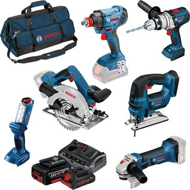 Bosch 0615990L1M 18V 6 Piece ROBUST Series Power Tool Kit, 3 x 4.0Ah Li-ion
