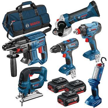 Bosch 0615990K9F 18V Dynamic Series 6 Piece Kit Professional Heavy Duty, 3x 4.0Ah Batteries
