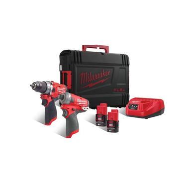 MILWAUKEE M12FPP2AQ-202X 12V Twinpack, 2 X 2.0Ah Batteries