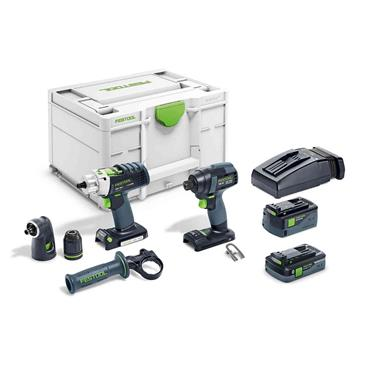 Festool 576489 TID18 18V Screwdriver and Drill Bit Set , 1 x 4.0Ah & 1 x 5.20Ah  Batteries
