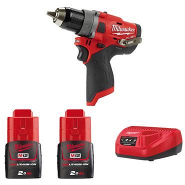 MILWAUKEE M12FPD-202B M12 12V Combi Drill Set,  2 X 2.0Ah Batteries