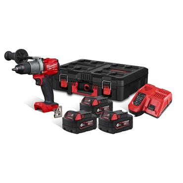 MILWAUKEE M18FPD2-603P 18V Fule Combi,  3 X 6.0 Ah Batteries