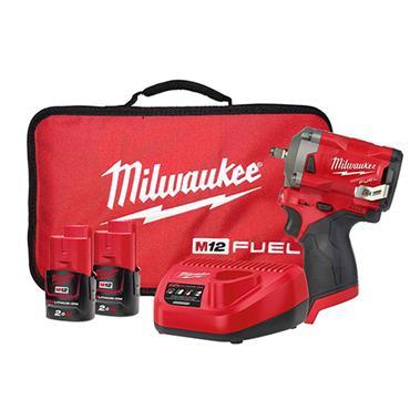 "MILWAUKEE M12FIW38-202B 12v 3/8"" Stubby Impact Wrench Kit, 2 x 2.0Ah Batteries"