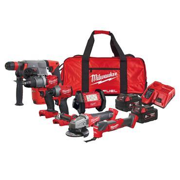 Milwaukee M18FPP6I2-502B 18V 2x5Ah Brushless Powerpack 6 Piece Kit , 2 x 5Ah Batteries