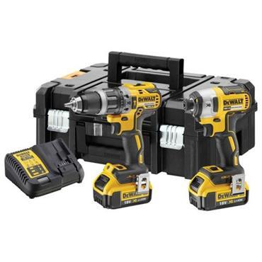 DEWALT DCK266M2T 18V XR Cordless Brushless Combi Drill & Impact Driver Twin Packx, 2 x 4Ah Batteries